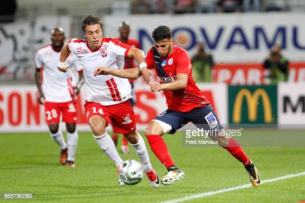 Joffrey Cuffaut of Nancy and Said Benrahma of Chateauroux during the Ligue 2 match between As Nancy Lorraine and Chateauroux on September 29 2017 in...
