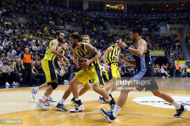 Joffrey Lauvergne #77 of Fenerbahce Beko Istanbul in action during the 2019/2020 Turkish Airlines EuroLeague Regular Season Round 15 match between...