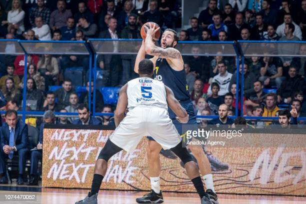 Joffrey Lauvergne of Fenerbahce Beko in action against Earl Clark of Buducnost Voli during Turkish Airlines Euroleague week 14 basketball match...