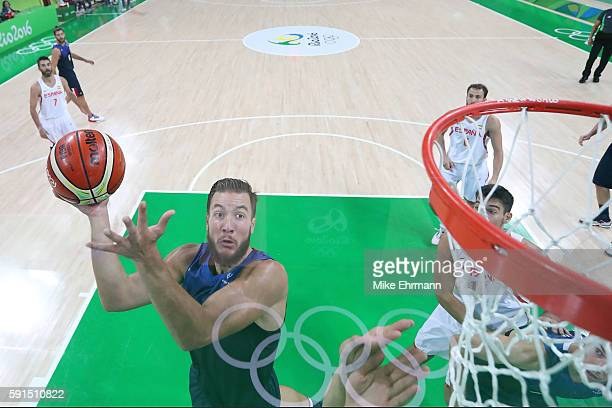 Joffrey Lauvergne of France goes to the basket against Spain during the Men's Quarterfinal match on Day 12 of the Rio 2016 Olympic Games at Carioca...