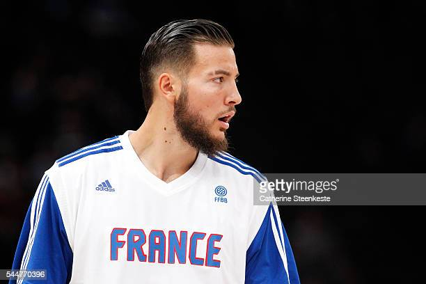 Joffrey Lauvergne of France is warming up prior to the International Friendly game between France v Serbia at AccorHotels Arena on June 21 2016 in...
