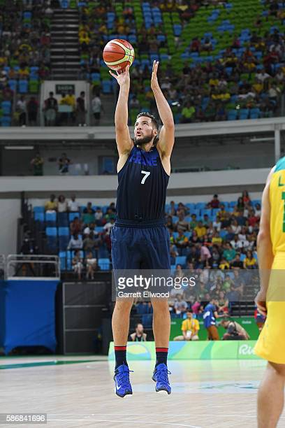 Joffrey Lauvergne of France shoots the ball against Australia on Day 1 of the Rio 2016 Olympic Games at Carioca Arena 1 on August 6 2016 in Rio de...
