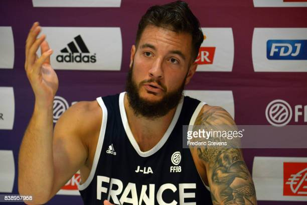 Joffrey Lauvergne of France's men's national basketball team during the press conference after the training session at Palais des Sports on August 25...