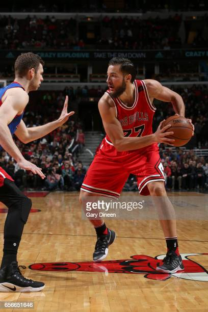 Joffrey Lauvergne of the Chicago Bulls handles the ball against the Detroit Pistons on March 22 2017 at the United Center in Chicago Illinois NOTE TO...