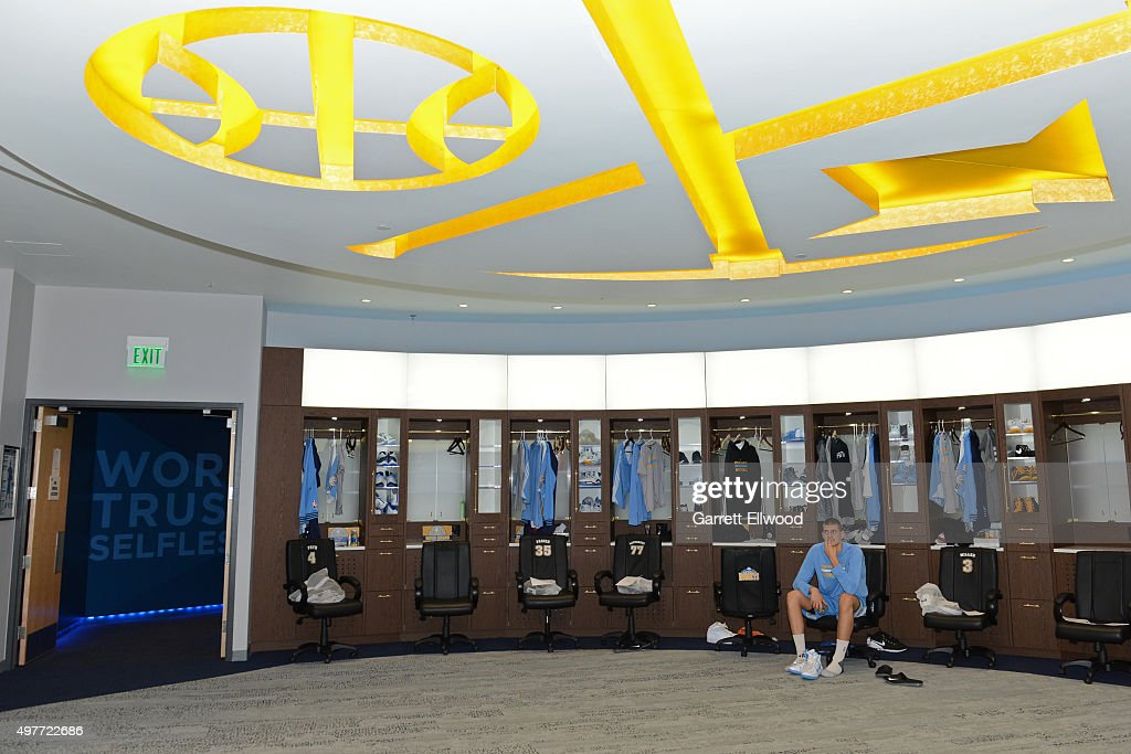 Joffrey Lauvergne #77 of the Denver Nuggets gets ready before the game against the Houston Rockets on November 13, 2015 at the Pepsi Center in Denver, Colorado.