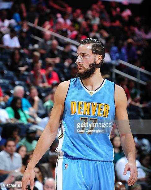 Joffrey Lauvergne of the Denver Nuggets is seen during the game against the Atlanta Hawks on March 17 2016 at Philips Arena in Atlanta Georgia NOTE...