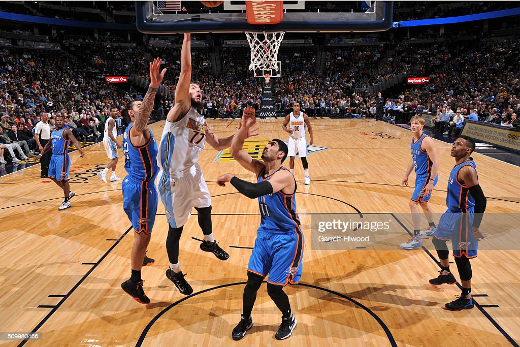 Joffrey Lauvergne #77 of the Denver Nuggets shoots the ball against the Oklahoma City Thunder on January 19, 2016 at the Pepsi Center in Denver, Colorado.