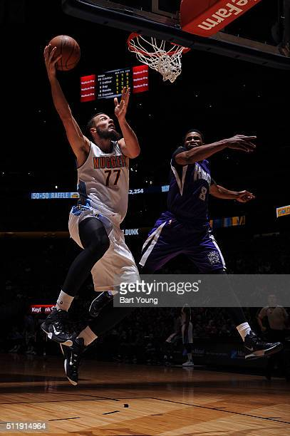 Joffrey Lauvergne of the Denver Nuggets shoots the ball against the Sacramento Kings on February 23 2016 at the Pepsi Center in Denver Colorado NOTE...