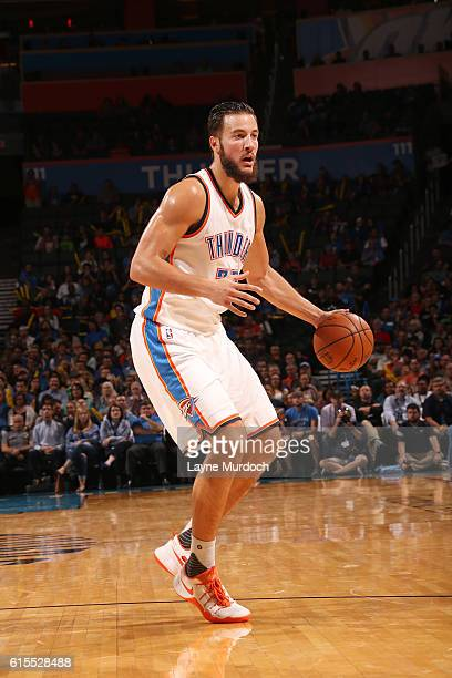 Joffrey Lauvergne of the Oklahoma City Thunder handles the ball during a preseason game against the Denver Nuggets on October 18 2016 at Chesapeake...