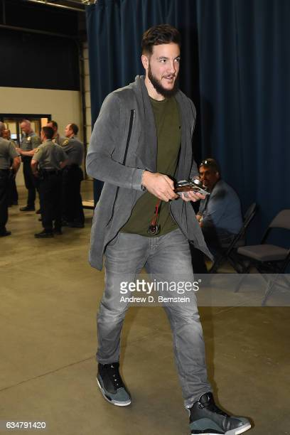 Joffrey Lauvergne of the Oklahoma City Thunder is seen before the game against the Golden State Warriors on February 11 2017 at Chesapeake Energy...