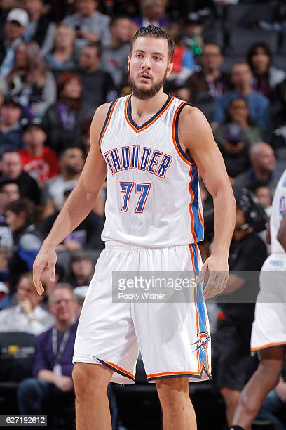 Joffrey Lauvergne of the Oklahoma City Thunder looks on during the game against the Sacramento Kings on November 23 2016 at Golden 1 Center in...
