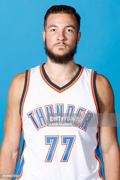 Joffrey Lauvergne of the Oklahoma City Thunder poses for a head shot during 2016 NBA Media Day on September 23 2016 at the Chesapeake Energy Arena in...