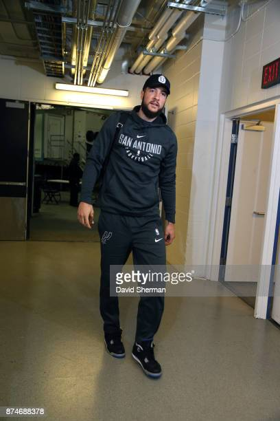 Joffrey Lauvergne of the San Antonio Spurs arrives before the game against the Minnesota Timberwolves on November 15 2017 at Target Center in...