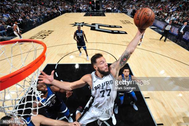 Joffrey Lauvergne of the San Antonio Spurs goes to the basket against the Minnesota Timberwolves on October 18 2017 at the ATT Center in San Antonio...