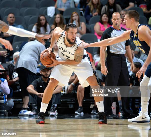 Joffrey Lauvergne of the San Antonio Spurs handles the ball against the Denver Nuggets during the preseason game on October 8 2017 at the ATT Center...