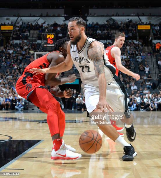 Joffrey Lauvergne of the San Antonio Spurs handles the ball against the Toronto Raptors on October 23 2017 at the ATT Center in San Antonio Texas...