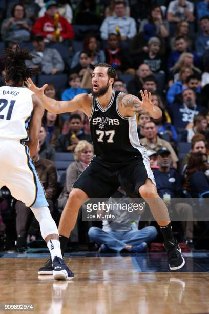 Joffrey Lauvergne of the San Antonio Spurs plays defense against the Memphis Grizzlies on January 24 2018 at FedExForum in Memphis Tennessee NOTE TO...