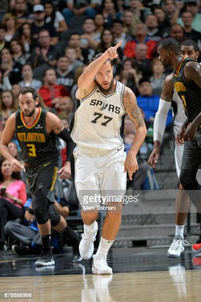 Joffrey Lauvergne of the San Antonio Spurs reacts to a play against the Atlanta Hawks on November 20 2017 at the ATT Center in San Antonio Texas NOTE...