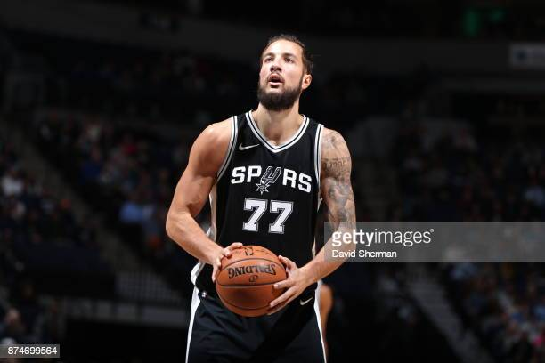 Joffrey Lauvergne of the San Antonio Spurs shoots a free throw against the Minnesota Timberwolves on November 15 2017 at Target Center in Minneapolis...