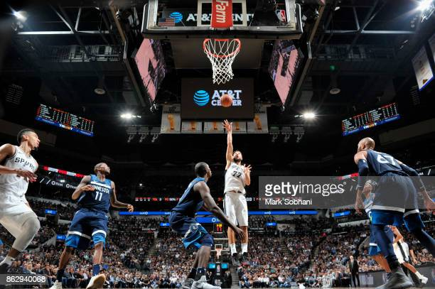 Joffrey Lauvergne of the San Antonio Spurs shoots the ball against the Minnesota Timberwolves on October 18 2017 at the ATT Center in San Antonio...