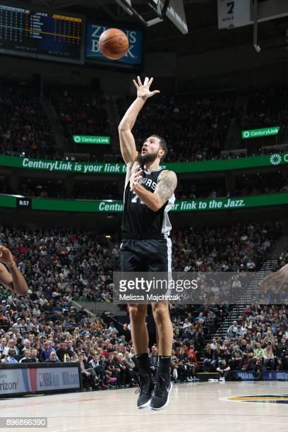Joffrey Lauvergne of the San Antonio Spurs shoots the ball against the Utah Jazz on DECEMBER 21 2017 at vivintSmartHome Arena in Salt Lake City Utah...
