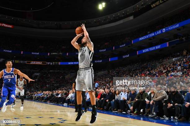 Joffrey Lauvergne of the San Antonio Spurs shoots the ball against the Philadelphia 76ers at Wells Fargo Center on January 3 2018 in Philadelphia...
