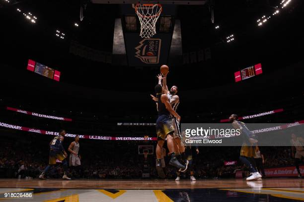Joffrey Lauvergne of the San Antonio Spurs shoots the ball against the Denver Nuggets on February 13 2018 at the Pepsi Center in Denver Colorado NOTE...