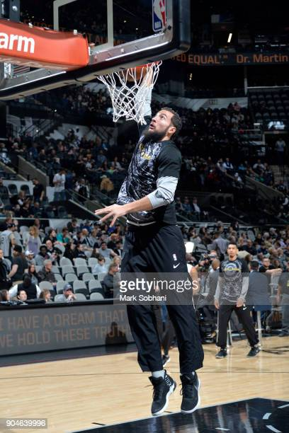 Joffrey Lauvergne of the San Antonio Spurs warms up before the game against the Denver Nuggets on January 13 2018 at the ATT Center in San Antonio...