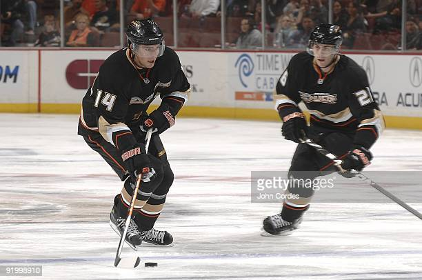 Joffrey Lupul of the Anaheim Ducks handles the puck against the St. Louis Blues during the game on October 17, 2009 at Honda Center in Anaheim,...
