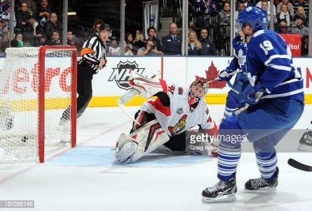 Joffrey Lupul of the Toronto Maple Leafs scores on Craig Anderson of the Ottawa Senators during NHL action at the Air Canada Centre January 14 2012...