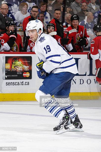Joffrey Lupul of the Toronto Maple Leafs skates against the Ottawa Senators during an NHL game at Canadian Tire Centre on February 6 2016 in Ottawa...