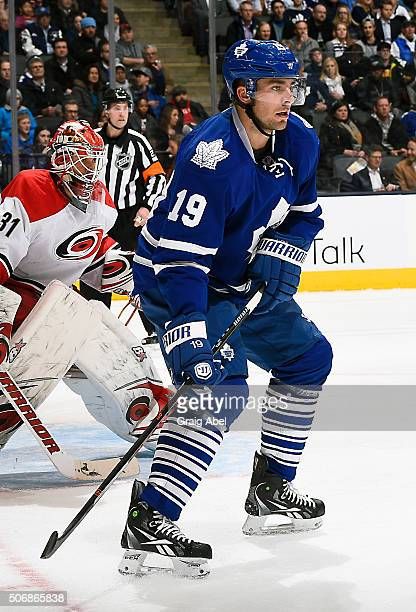 Joffrey Lupul of the Toronto Maple Leafs watches the play develop against the Carolina Hurricanes during game action on January 21 2016 at Air Canada...