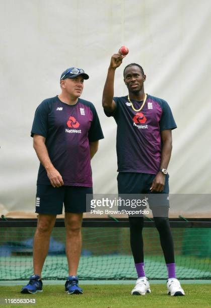 Jofra Archer and Chris Silverwood of England in the nets before the first test against South Africa on December 23, 2019 in Centurion, South Africa.
