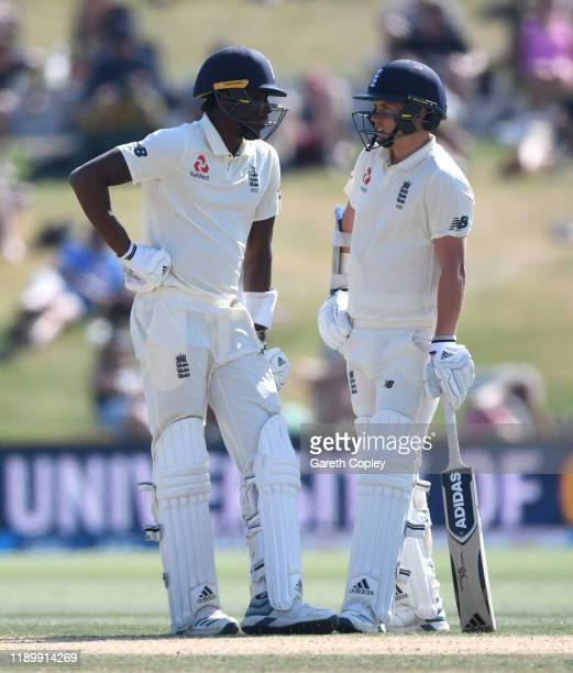 Jofra Archer and Sam Curran of England during day five of the first Test match between New Zealand and England at Bay Oval on November 25, 2019 in...