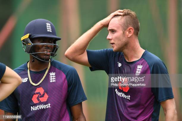 Jofra Archer and Stuart Broad of England together in the nets before the first test against South Africa on December 23, 2019 in Centurion, South...