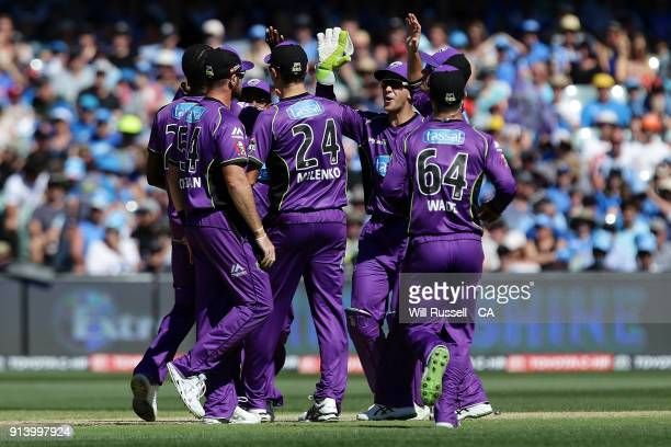 Jofra Archer celebrates after taking the wicket of Alex Carey of the Strikers during the Big Bash League Final match between the Adelaide Strikers...