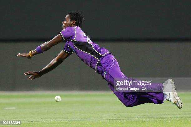 Jofra Archer dives for a catch during the Big Bash League match between the Hobart Hurricanes and the Adelaide Strikers at Blundstone Arena on...