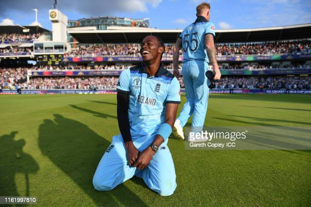 Jofra Archer of England and Ben Stokes of England celebrate after winning the Cricket World Cup during the Final of the ICC Cricket World Cup 2019...