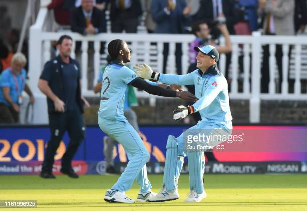Jofra Archer of England and Jos Buttler of England celebrate after winning the Cricket World Cup during the Final of the ICC Cricket World Cup 2019...
