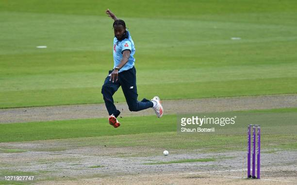 Jofra Archer of England attempts a run out by kicking the ball during the 1st Royal London One Day International Series match between England and...