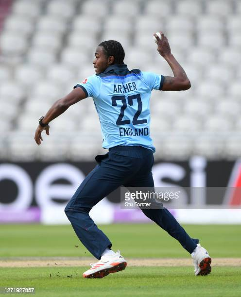 Jofra Archer of England attempts a run out during the 1st Royal London One Day International Series match between England and Australia at Emirates...