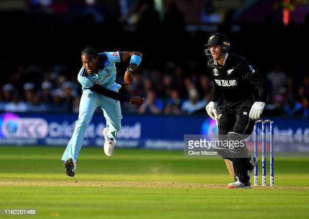 Jofra Archer of England bowling during the Super Over as Martin Guptill of New Zealand backs up during the Final of the ICC Cricket World Cup 2019...