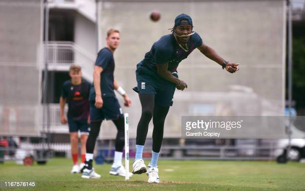 Jofra Archer of England bowls during a nets session at Lord's Cricket Ground on August 12, 2019 in London, England.