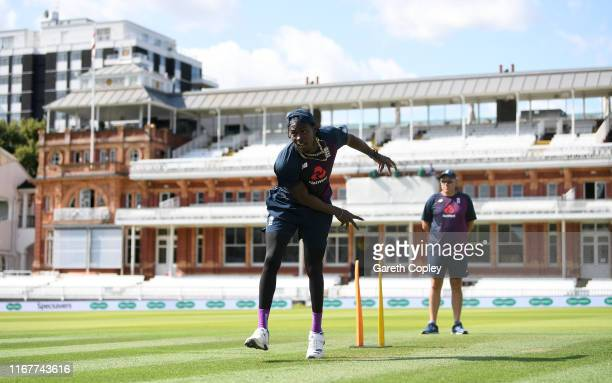 Jofra Archer of England bowls during a nets session at Lord's Cricket Ground on August 13, 2019 in London, England.