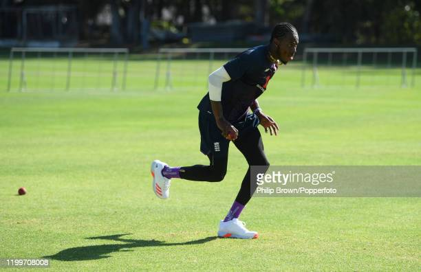 Jofra Archer of England bowls during a training session at St George's Park before the third Test Match between England and South Africa on January...