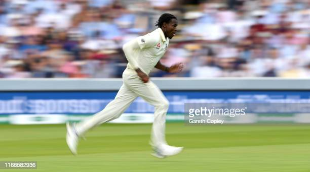 Jofra Archer of England bowls during day four of the 2nd Specsavers Ashes Test match at Lord's Cricket Ground on August 17, 2019 in London, England.