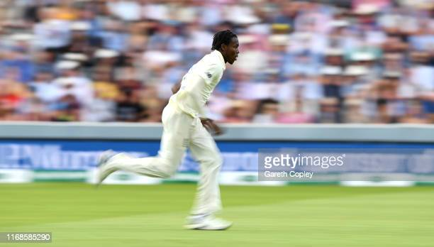 Jofra Archer of England bowls during day four of the 2nd Specsavers Ashes Test match at Lord's Cricket Ground on August 17 2019 in London England