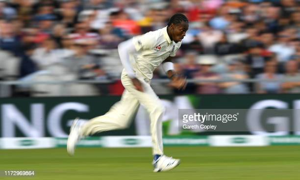 Jofra Archer of England bowls during day four of the 4th Specsavers Ashes Test match between England and Australia at Old Trafford on September 07,...