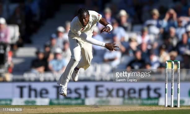 Jofra Archer of England bowls during day four of the 5th Specsavers Ashes Test between England and Australia at The Kia Oval on September 15, 2019 in...
