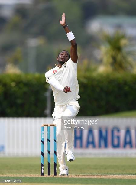 Jofra Archer of England bowls during day three of the tour match between New Zealand A and England at Cobham Oval on November 17, 2019 in Whangarei,...